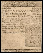 Colonial Currency, Delaware June 1, 1759. 5s Printed by BENJAMIN FRANKLIN Issue