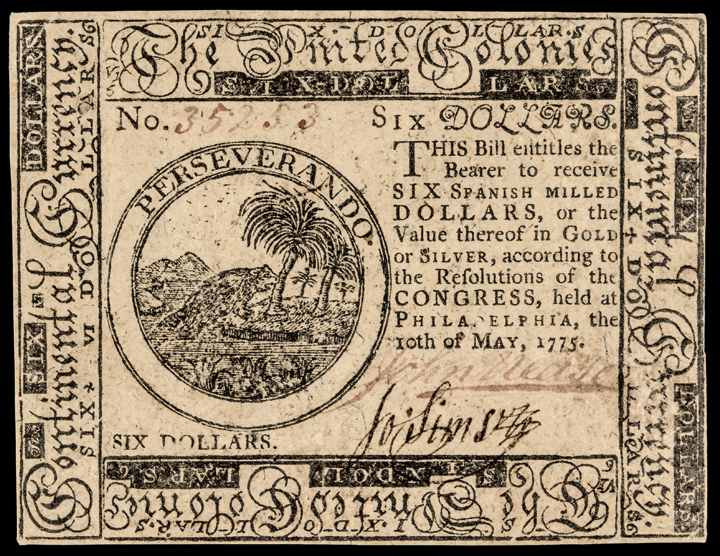 Continental Currency, May 10, 1775 Six Dollars PCGS EF-45 PPQ Note