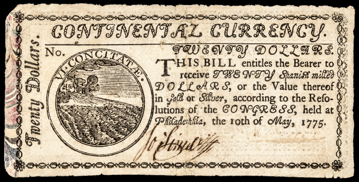 Continental Currency, May 10, 1775 $20 MARBLED BORDER 1st Issue EF Note!