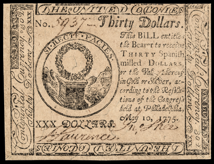 Continental Currency, May 10, 1775. Thirty Dollars. First Issue. Crisp AU