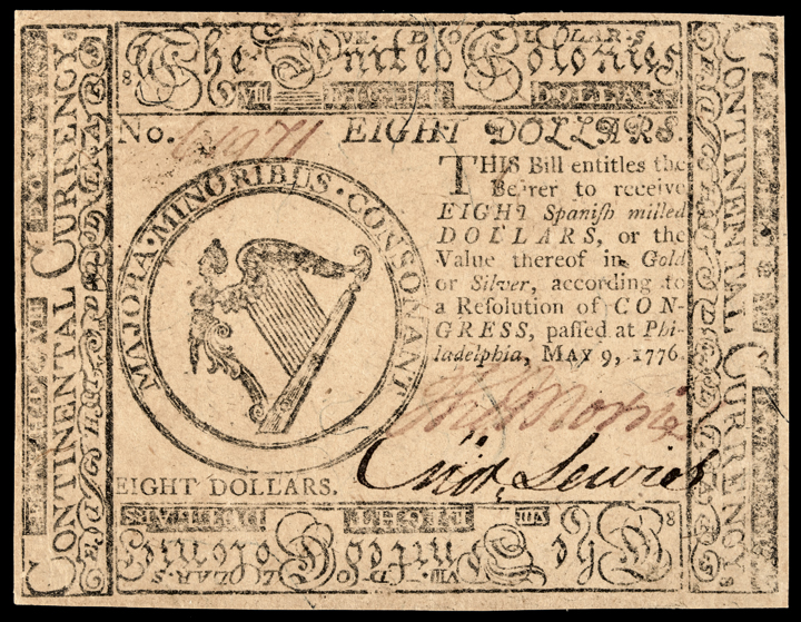 Continental Currency. May 9, 1776. Eight Dollars Choice Crisp Uncirculated