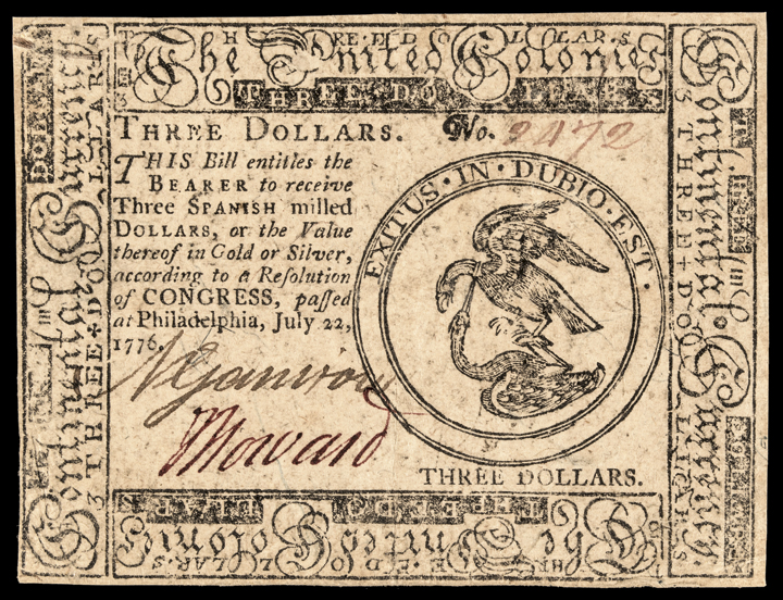 Continental Currency, July 22, 1776 Three Dollars. Philadelphia. Extremely Fine