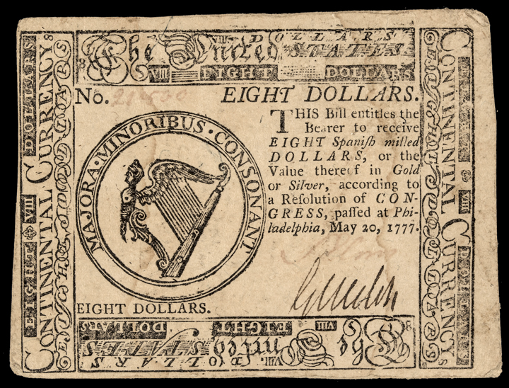Continental Currency, May 20, 1777 $8 First THE UNITED STATES Currency