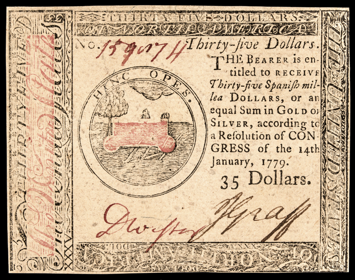 Colonial Currency, Continental, Jan. 14, 1779 $35 Choice Crisp Uncirculated