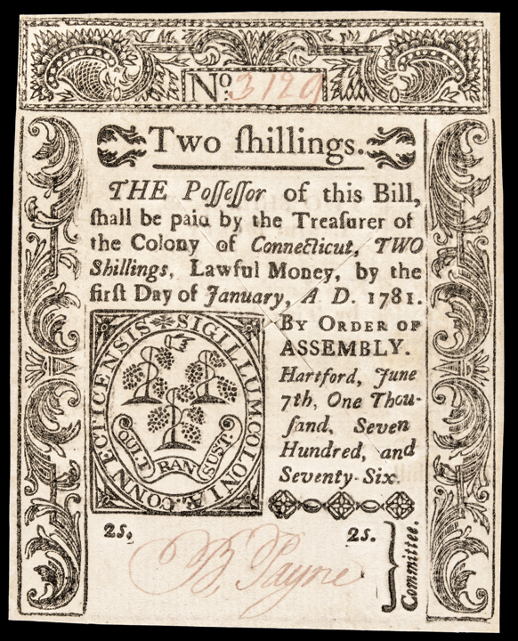 Colonial Currency. Connecticut. June 7, 1776. Two Shillings. Superb Uncirculated