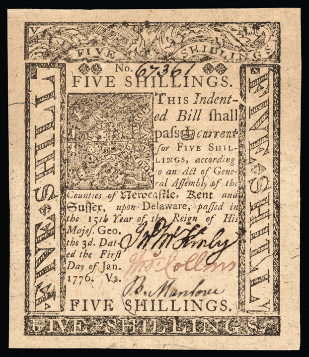 Colonial Currency. DE. January 1, 1776 5 Shillings Jumbo Margins Superb Unc.