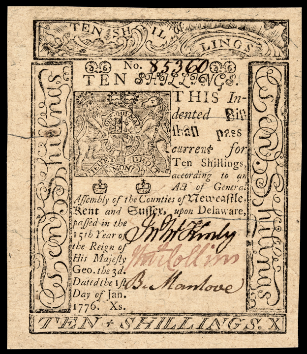 Colonial Currency, DE. January 1, 1776. 10s. Superb Uncirculated w/Huge Margins