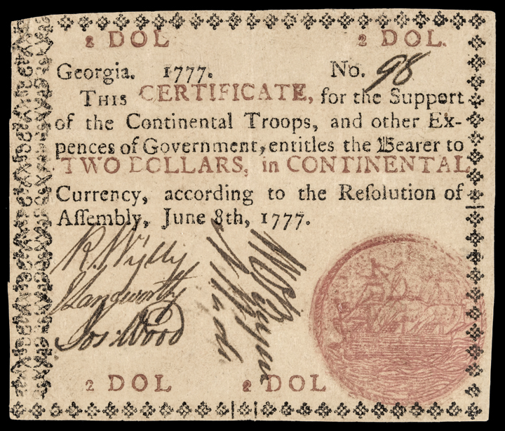 Colonial Currency, GA, 1777, $2, Sailing Ship, Red in. PMG Choice Very Fine-35