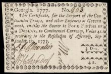 Colonial Currency, Georgia. September 10, 1777. $4/5. PMG Graded Very Fine-25.