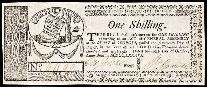 Colonial Currency, GA, October 16, 1786, One Shilling. PCGS Extremely Fine-40