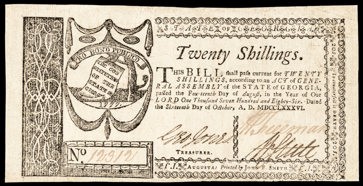 Colonial Currency Note, Georgia. October 16, 1786. Twenty Shillings, Very Fine