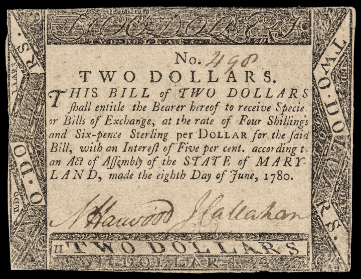 Colonial Currency, Maryland. June 8, 1780. $2 BLACK MONEY. Exceedingly Rare!