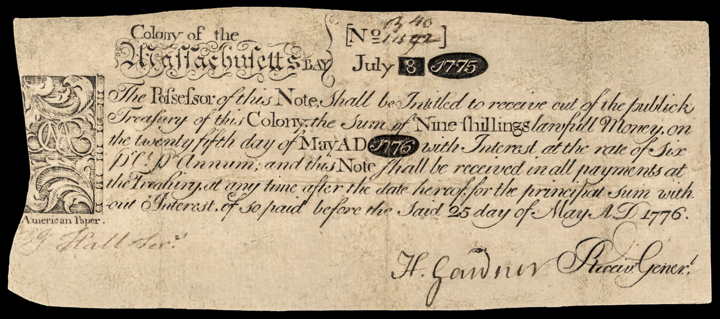 Colonial Currency, MA. July 8, 1775 PAUL REVERE Engraved Indent Note 667 Printed