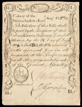 Colonial Currency, PAUL REVERE Mass. August 18, 1775. 11 Shillings Sword in Hand