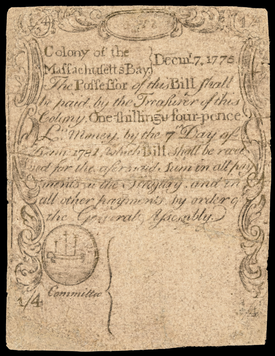 Colonial Currency, Mass. Dec. 7, 1775 Paul Revere Engraved Sword in Hand Issue