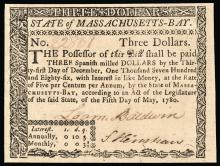Colonial Currency, Mass. May 5, 1780 $3 Fully Signed and Issued. PCGS GEM New 65