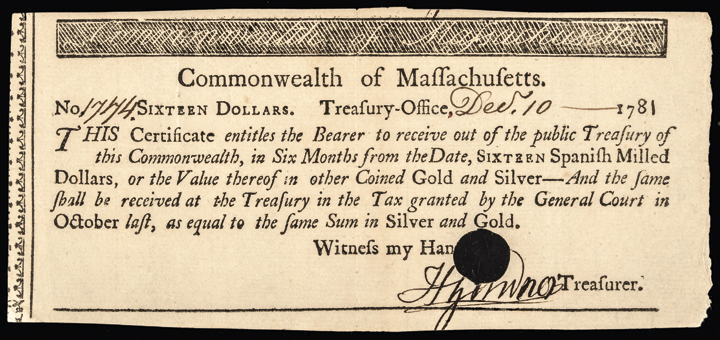 Colonial Currency, MA, 1781. 16 Spanish Milled Dollars Treasurers Certificate