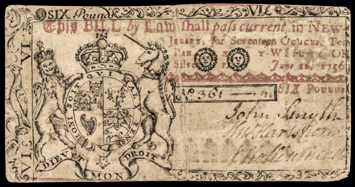 Colonial Currency, New Jersey June 22, 1756 Six Pounds GREEN  PRINTED REVERSE