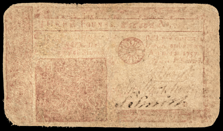 Colonial Currency Note, NJ. April 12, 1757, 3 Pounds. RED PRINTED FACE Rarity!