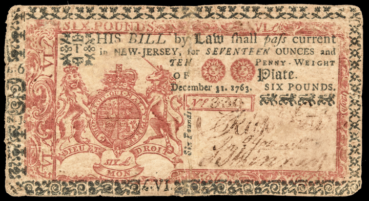 Colonial Currency, New Jersey December 31, 1763 6 Pounds Red + Blue 500 Printed!