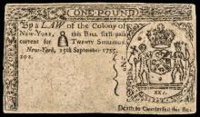 Colonial Currency, New York. September 15, 1755. Twenty Shillings Rarity