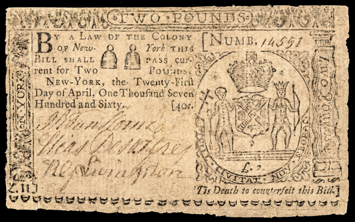 Colonial Currency, New York. April 21, 1760. Two Pounds. Fine