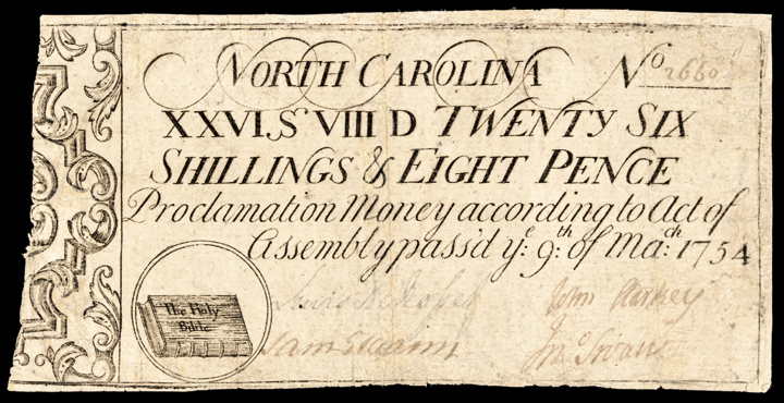 Colonial Currency Note, North Carolina. March 9, 1754 The Holy Bible Vignette