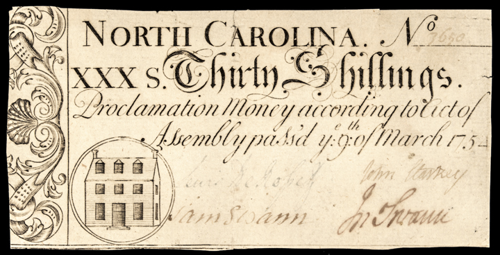 Colonial Currency, NC, March 9, 1754 Act. 30 Shillings. PCGS Extremely Fine-45
