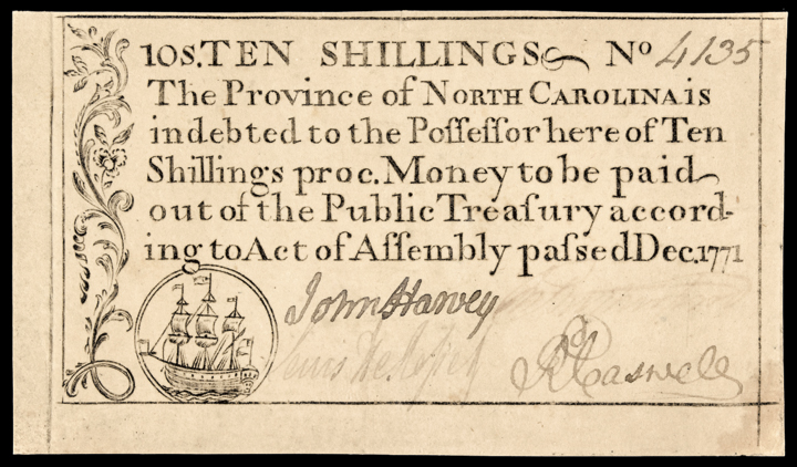 Colonial Currency, N. Carolina Dec. 1771. 10s. Sailing Ship. PCGS About Unc-50