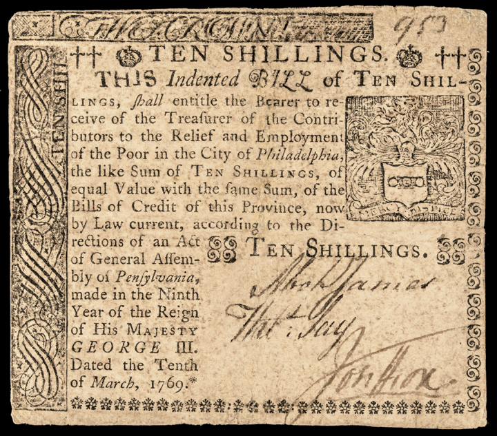 Colonial Currency, PA. March 10, 1769. 10s Poor in the City of Philadelphia Note