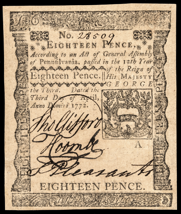 Colonial Currency. Pennsylvania. April 3, 1772. 18 pence GEM Crisp Uncirculated