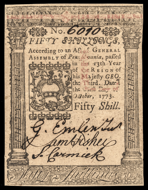 Colonial Currency, Pennsylvania. October 1, 1773. 50s PCGS Choice About New-58