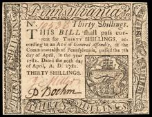 Colonial Currency, PA April 20, 1781 30 Shillings Error Spelling: Dnnlap. Ch. CU