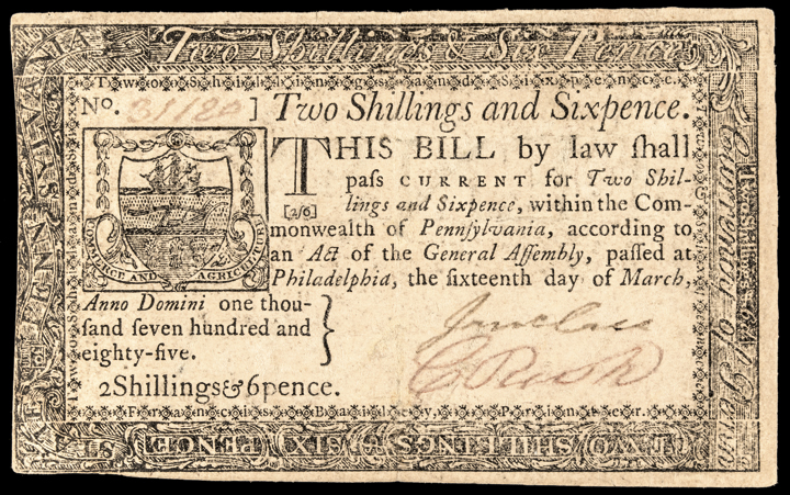 Colonial Currency, PA. March 16, 1785, 2s6d. Extremely Fine. Scarce Note