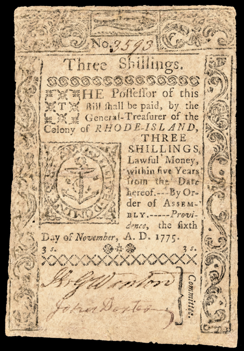 Colonial Currency, Rhode Island. November 6, 1775. Three Shillings. Very Rare