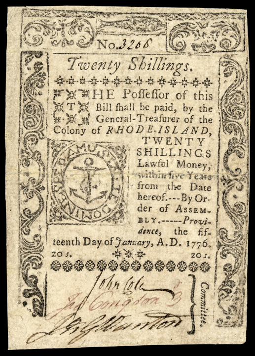 Colonial Currency, RI. January 15, 1776. 20 Shillings. PMG net Very Fine-25