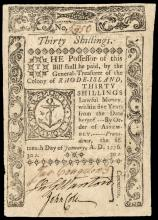 Colonial Currency, RI, January 15, 1776, 30s