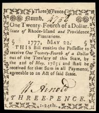 Colonial Currency, RI, May 22, 1777, $1/24 PMG Graded Uncirculated-62