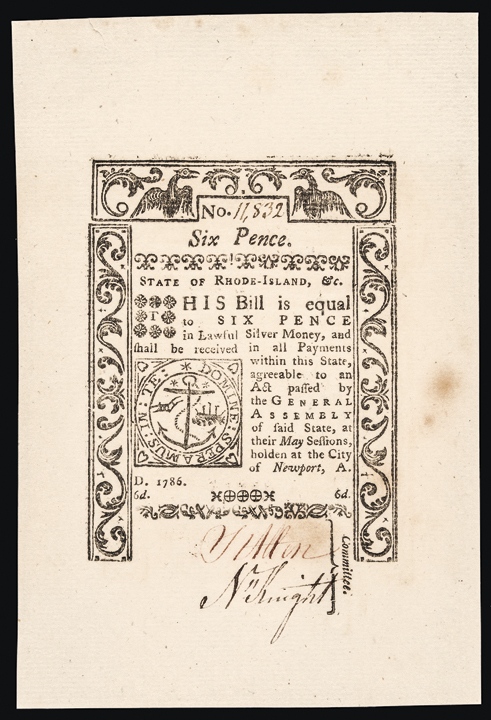 Colonial Currency Note, RI, May 1786, 6 Pence Jumbo Margins Gem Crisp Unc