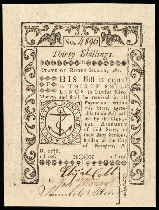 Colonial Currency Note, Rhode Island. May 1786. 30s. GEM AU with Jumbo Margins