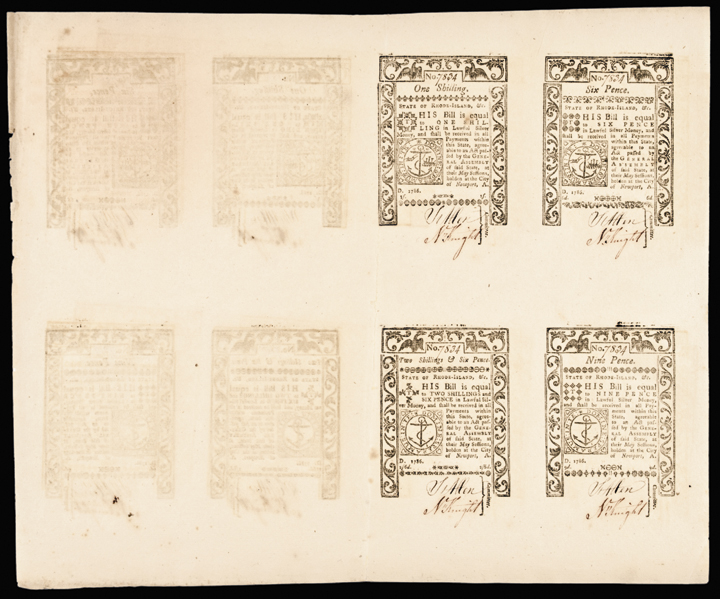 Colonial Currency, RI. May 1786. Full Uncut Double-Sheet. Gem Crisp Uncirculated