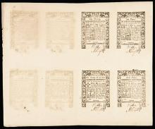 Colonial Currency, RI. May 1786. Full Uncut Double-Sheet. Gem Crisp Uncirculated