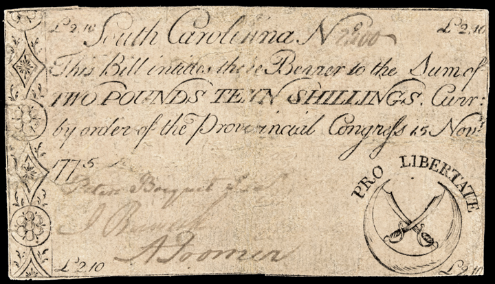 Colonial Currency, SC. Nov. 1775, 2 Pounds 10 Shillings. Crossed Swords Note
