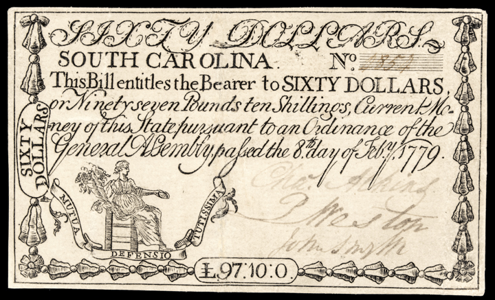 Colonial Currency, SC. February 8, 1779, Sixty Dollars. PMG Very Fine-25