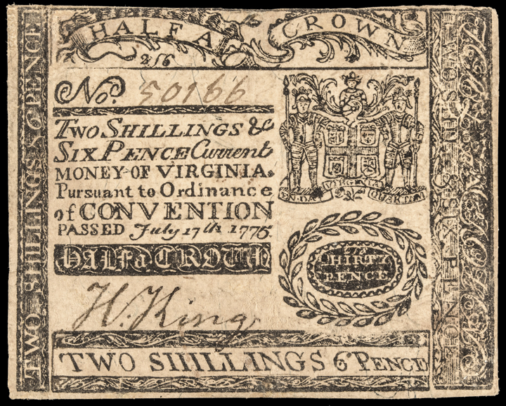 Colonial Currency, Virginia. July 17, 1775 Two Shillings Six Pence Choice Abt EF