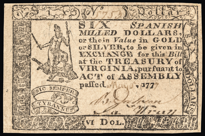 Colonial Currency VA May 5, 1777 $6 Handwritten Date Choice Crisp Extremely Fine