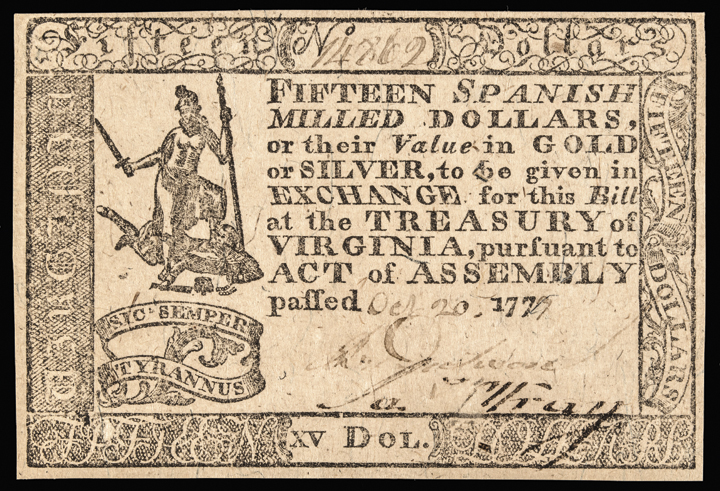 Colonial Currency, VA. October 20, 1777 $15 Handwritten Date Choice Uncirculated