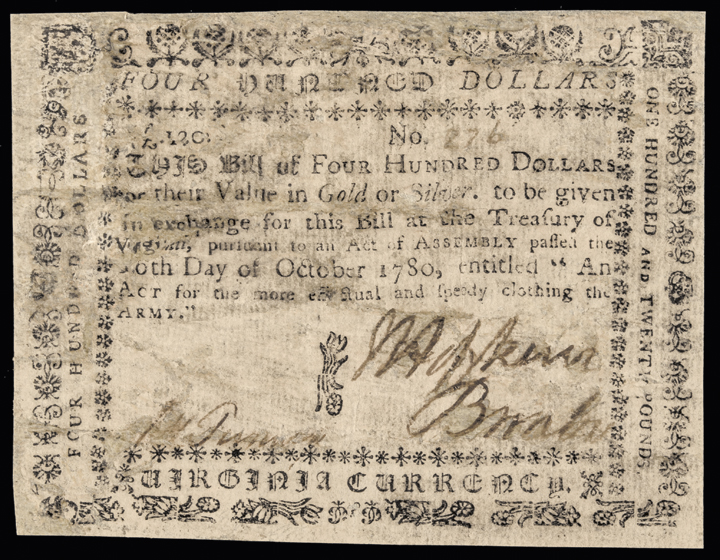 Colonial Currency Note, VA, October 16, 1780. $400