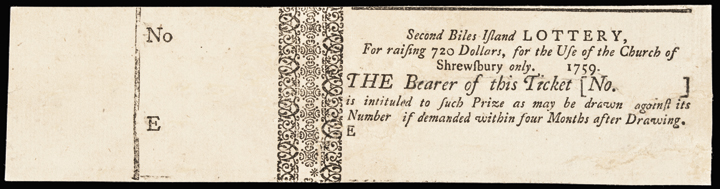 (New Jersey) 1759. Second Biles Island Lottery Ticket. Choice Extremely Fine