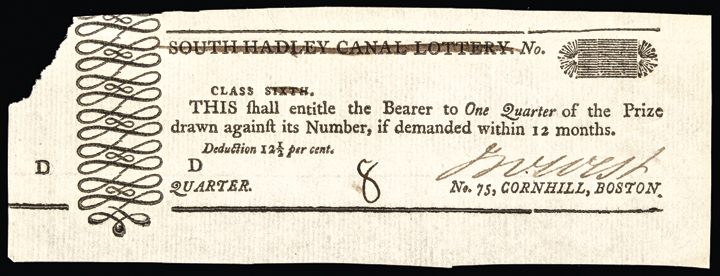 c. 1790 Boston Mass. South Hadley Canal Lottery Ticket Choice Uncirculated